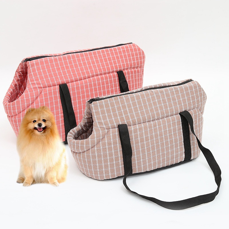 Dog Carriers Handbags Puppy Travel Outside Oxford Plaid Breathable 1pc Cats