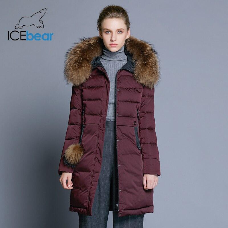 ICEbear 2019 abrigo de invierno para mujer chaqueta femenina delgada larga cuello de piel animal marca ropa gruesa cálida parka GWD18253-in Parkas from Ropa de mujer    1