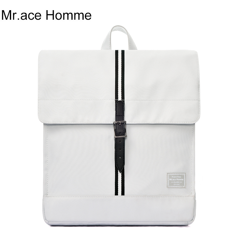 Mah Brand White Small Square Backpack Women School Backpack For Girl Waterproof Fabric Travel Bag Mini 13inch Cloth Bagback