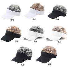 Adult Kids Funny Baseball Cap with Spiked Fake Hair Wig Solid Color Adjustable Snapback Sun Visor Hat Hip Hop Streetwear Gift hot new fashion novelty baseball cap fake flair hair sun visor hats men s women s toupee wig funny hair loss cool gifts golf cap