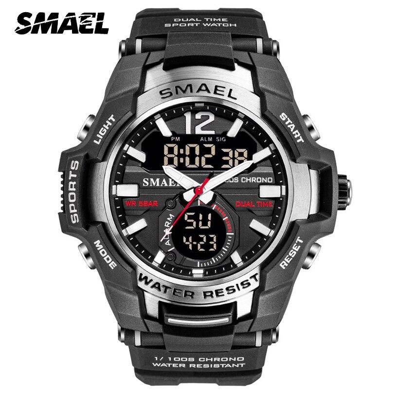 SMAEL Men' Sport Quartz Watch Men LED Digital 5ATM Waterproof S Shock Military Watches Man Double Display Wristwatch Relogio Men