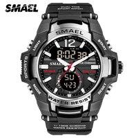 Smael masculino esporte relógio de quartzo led digital 5atm à prova dwaterproof água s choque militar relógios homem duplo display relógio de pulso relogio masculino|Relógios de quartzo| |  -