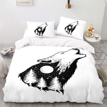 Duvet-Cover-Set Size-Bedding King Cartoon with Pillowcase 200200 Wolf-Pattern