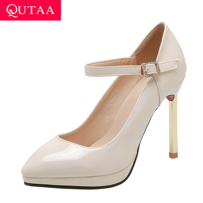QUTAA 2020 PU Patent Leather Women Pumps Pointed Toe Buckle Women Shoes Sexy Thin Heel Platform Ladies Wedding Pumps Size 34-43
