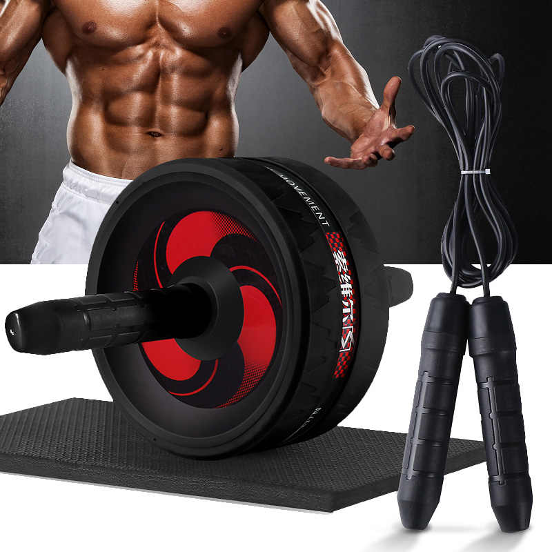 Mga resulta ng larawan para sa New 2 in 1 Ab Roller Jump Rope No Noise Abdominal Wheel Ab Roller with Mat For Arm Waist Leg Exercise Gym Fitness Equipment