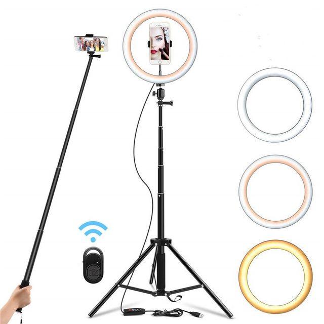 Кольцевой светильник для селфи, 26 см, 130 см, со штативом