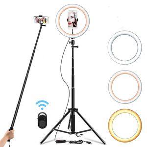 Image 1 - 26cm Selfie טבעת אור Dimmable 130cm חצובה Stand טלפון סלולרי מחזיק Led המצלמה Ringlight עבור איפור YouTube וידאו צילום