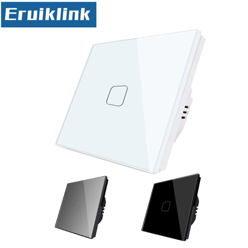 EU/UK Standard Touch Switch,1/2/3 Gang 1 Way Crystal Glass Panel Single Fireline Wall Light Switch Can't be remote controlled