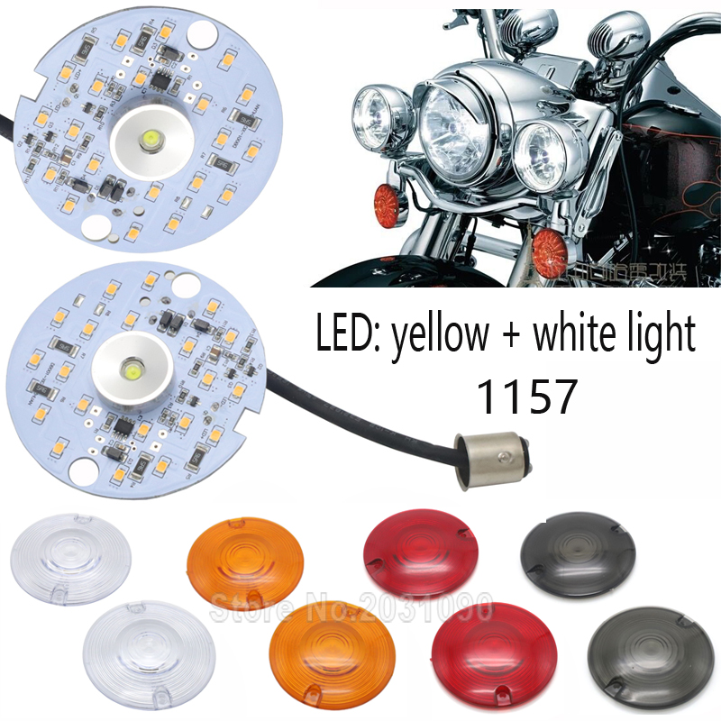 Turn Signal Lens Clear Cover w// 4 pcs Bulbs Fit For Harley Touring FLHT Softail
