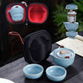 Китайский чайный набор кунг-фу  керамический портативный чайный горшок  набор  для путешествий  Gaiwan  чайные чашки для чайной церемонии  быто...