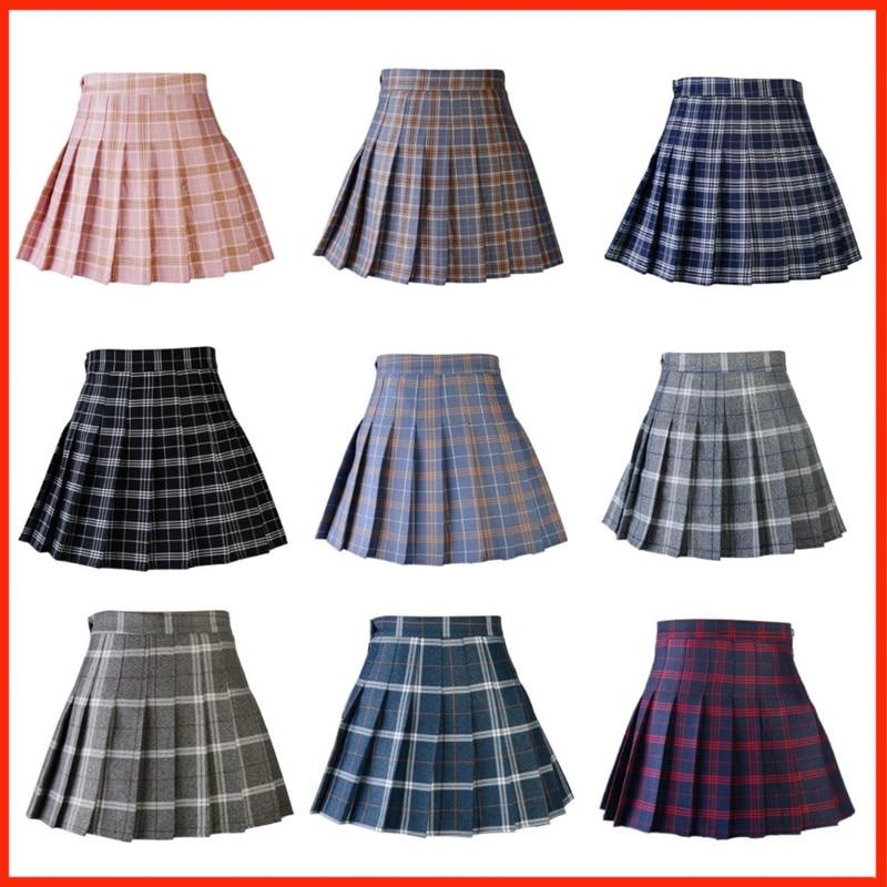 Cute Japanese School Uniforms Ladies Jupe Kawaii Skirt Saia Faldas Women Pleat Skirt Harajuku Preppy Style Plaid Skirts Mini
