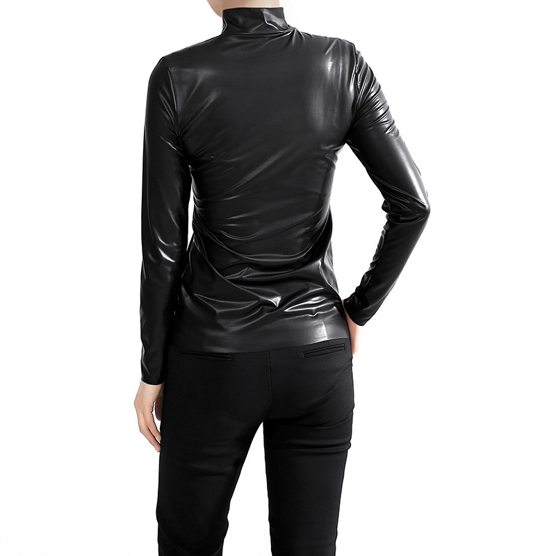 [EAM] Women Black Brief Pu Leather Temperament T-shirt New Stand Collar Long Sleeve  Fashion Tide  Spring Autumn 2020 JY93301 2