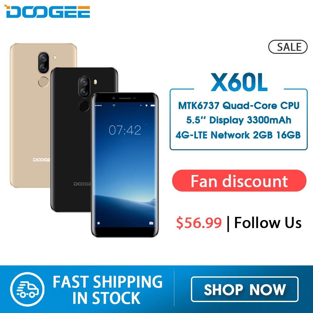 DOOGEE X60L 5.5'' 4G Network MTK6737 Quad Core 2GB RAM 16GB ROM 4G Dual Camera 13.0MP Android 7.0 3300mAh Fingerprint Smartphone