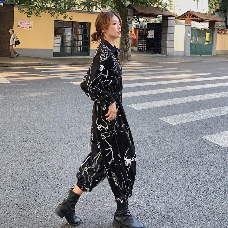 Women Cargo Jumpsuits Long Sleeve Loose Casual Print Wide Leg Cross Pants Streetwear Hip Hop Gothic Trouser Overalls Plus Size