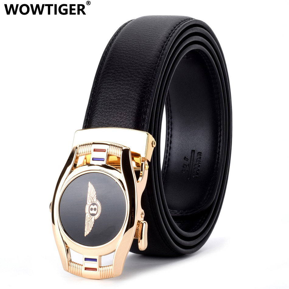 WOWTIGER Car Brand Black Automatic Buckle Leather Luxury Men Belt Male Alloy Buckle Belts For Men Ceinture Homme Cinto Masculino