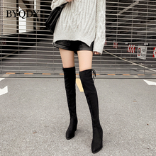 BYQDY New Autumn Winter Woman Boots Over The Knee Elastic Long Booties Leisure Cow Suede Thick Heel Casual Shoes Discount