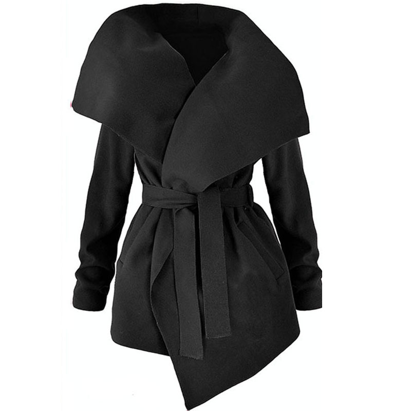 Winter Coats Women Autumn Woolen Blend Fashion Lapel Jackets Sexy V Neck Belt Lace-up Solid Casual Slim Overcoats Female Outer 3