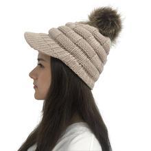 Популярные модели вязанных шерстяных шариков, шерстяная шапка с квадратным конским хвостом, утиный язык, вязаные головные уборы, теплые модные