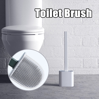 Silicone Wc Toilet Brush Wall Mounted Flat Head Cleaning Brush Set Toilet Brush Holder Set Clean Tool Durable Bathroom Accessory недорого
