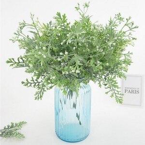 Ramo de hojas artificiales de 5 tenedor con forma de cuernos, flor falsa, pasto planta verde, decoración para el hogar, la oficina o la Mesa