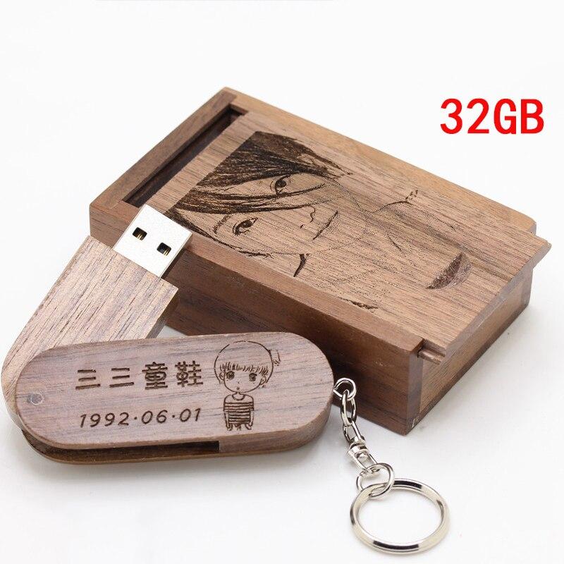 Livraison gratuite 4 pièces 32GB USB flash disque en bois personnalisé logo saint valentin mariage mariée douche faveurs d'affaires réunion cadeau d'anniversaire