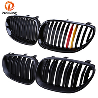 POSSBAY Kidney Hood Grill Gloss Black Red Yellow Front Center Grilles for BMW 5-Series E60 530xd/535i/520d/540i Sedan 2003-2010