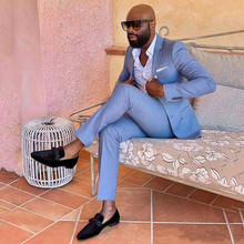 Mens Suits Pant Wedding-Tuxedos Blue Lapel Jacket Groomsmen Slim-Fit Peaked Two-Pieces