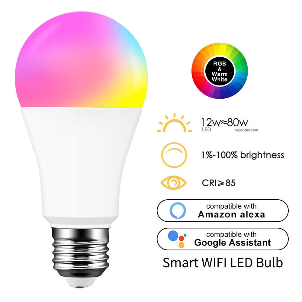 Ampoule LED blanche intelligente 15W, E27 B22, intensité réglable, éclairage rvb, wi-fi, Compatible avec Amazon Alexa Google Home Smartphone
