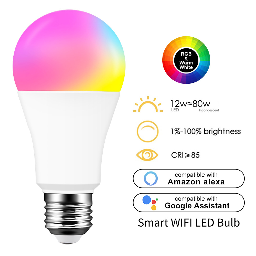WiFi Smart Light Bulb  LED RGB Lamp Work with Alexa//Google Home  RGB+White Magic