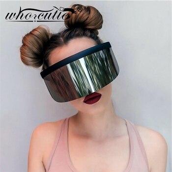 WHO CUTIE 2020 Oversize Shield Visor Mask Sunglasses Men Women One Peice Windproof Glasses Flat Top Hood Nicki Minaj Goggles 628