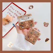 Для airpods 1/2 чехол 3d милая мягкая игрушка клубничный медведь