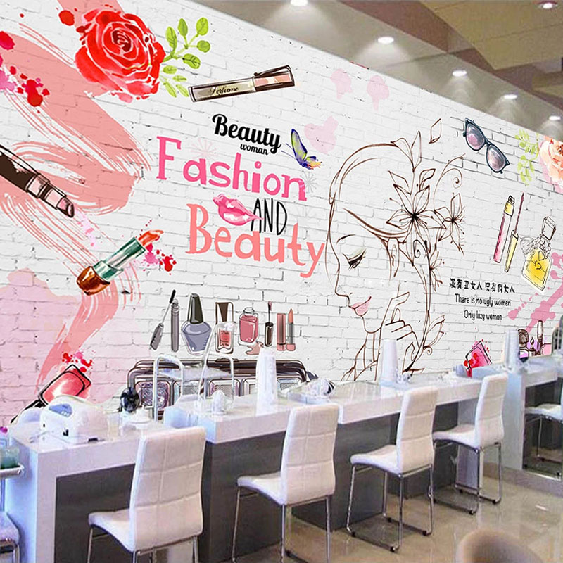 Custom Mural Wallpaper Modern Fashion Brick Wall Cosmetics Background Wall Painting Beauty Shop Clothing Store 3D Wall Papers