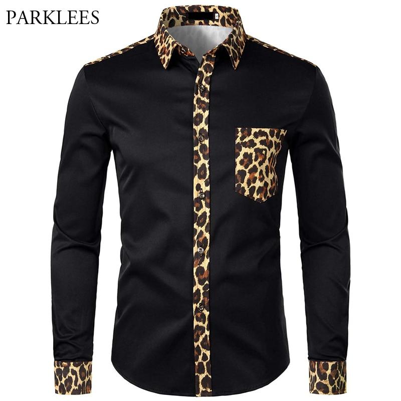 Men Splice Leopard Printed Shirt With Pocket Men Dress Shirt Long Sleeve Men Fashion Brand Mens Button Shirts Camisas Hombre USA