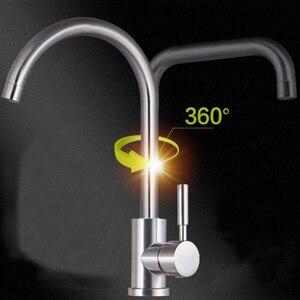 Image 4 - Bồn Rửa Vòi Bếp Nóng Lạnh Vòi Nước Thép Không Gỉ Màu Đen Vòi 1 Lỗ Xoay Được Sàn Tàu Gắn Hiện Đại Vòi Keukenkraan
