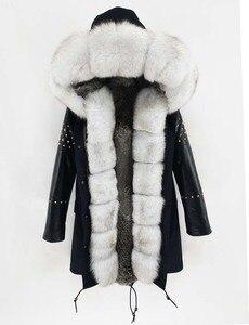 Image 4 - OFTBUY ארוך אמיתי Parka פרווה מעיל חורף מעיל נשים טבעי כבש עור מסמרת שרוולים ארנב רירית הלבשה עליונה Streetwear