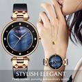 CURREN женские часы лучший бренд класса люкс водонепроницаемые наручные часы с кожаным ремешком женские синие часы модные кварцевые женские ч...