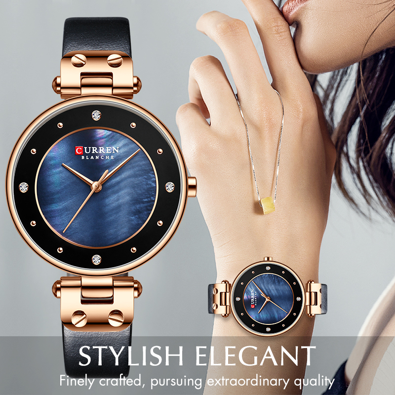 CURREN Women's Watches Top Brand Luxury Leather Waterproof Wristwatch Women Blue Clock Fashion Quartz Ladies Watch Reloj Mujer