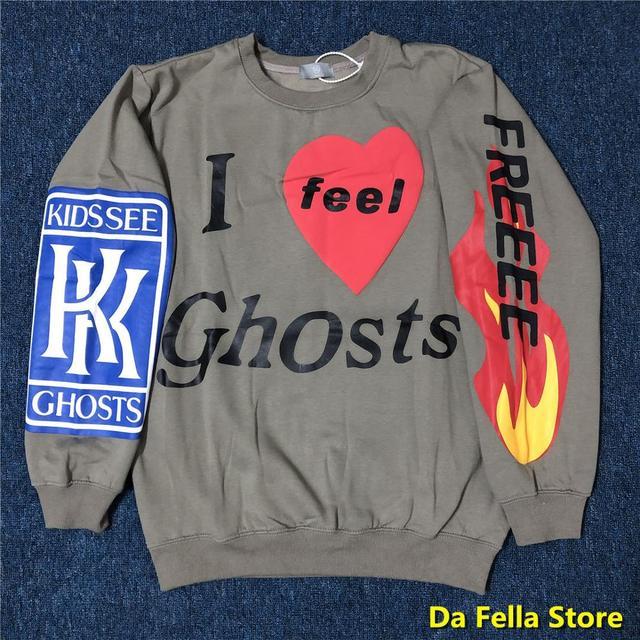 """Light Grey """"I Feel Ghost' KID CUDI Sweatshirt Hoodie 1"""