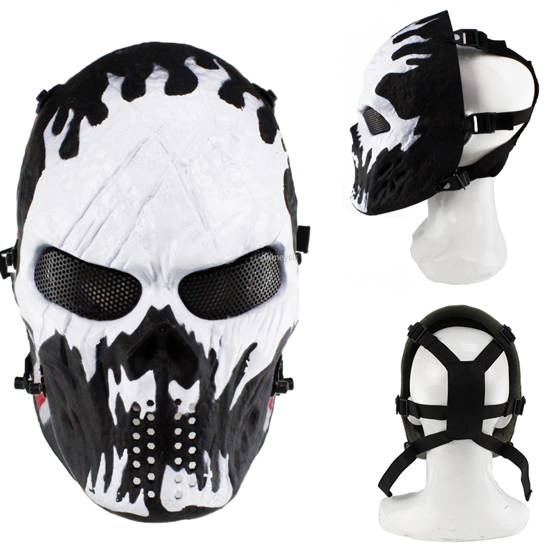Military Tactical Skull Mask Full Face Cosplay Hunting Shooting Airsoft Paintball Masks Halloween Party Decor Men Women Cs Masks
