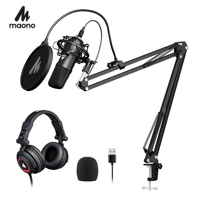 100% микрофон MAONO A04H USB, студийный набор наушников 192 кГц/24 бит, голосовой конденсатор, кардиоидный Подкаст, микрофон для Mac и Windows|Микрофоны|   | АлиЭкспресс