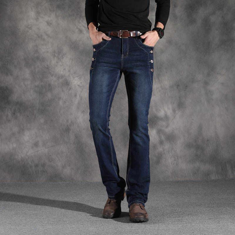 Для мужчин s Осень Зима слегка расклешенные джинсы брюки загрузки с вырезами ноги стрейч джинсы для мужчин средняя талия мужские повседневные джинсы мужские джинсы из денима