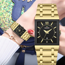 Women's Golden Bracelet Watches Rectangle Analog Quartz Watches for Women Luxury Brand