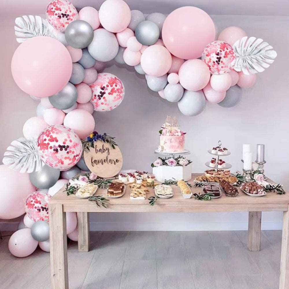 103pcs Pastel Pink Latex Balloons Garland Arch Kit White Silver Balloons For Wedding Engagement Decoration Birthday Baby Shower|Ballons & Accessories| - AliExpress