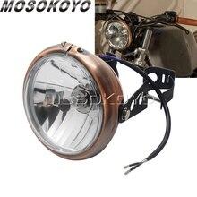 """Faro Vintage con bisel marrón, 6 """", H4, 12V, con soporte de montaje para Harley, Old School, Chopper, Cafe Racer Bobber, lámpara de iluminación personalizada"""