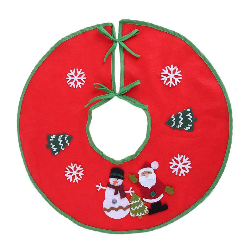 Promotion--18 Inch Red Christmas Tree Skirt Xmas Tree Skirt Base Cover Decorations
