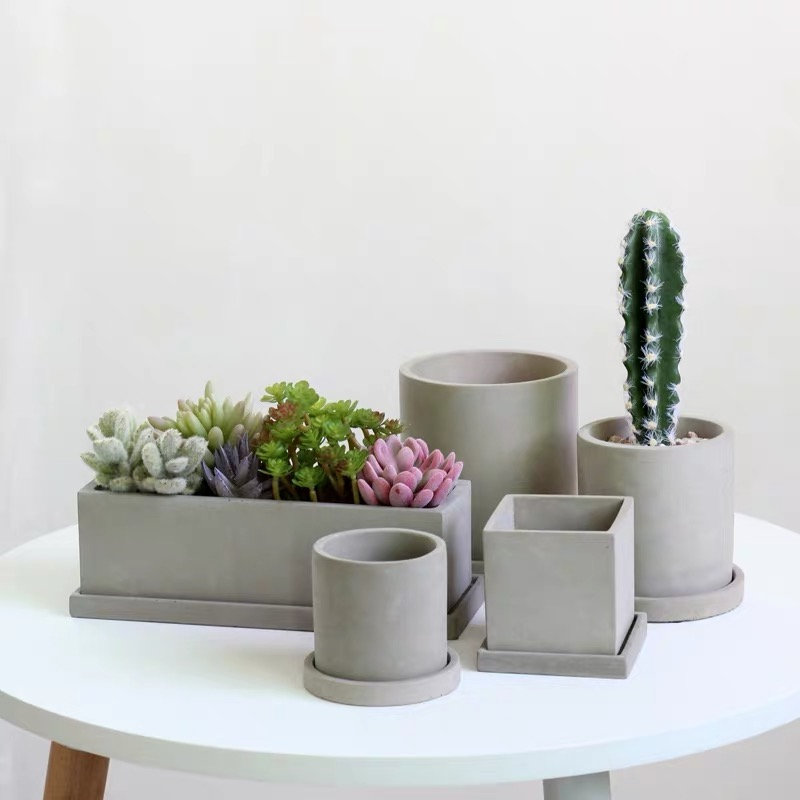 Three Shapes Concrete Hexagonal Flower Pots Silicone Vase Molds Cement Jewelry Tray Plant Pot Base Clay Gypsum Coaster Mold Diy