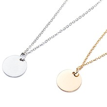 Simple Women Gold Silver Color Round Metal Tag Pendant Necklace Fashion Statement Choker Necklace Fine Jewelry(China)