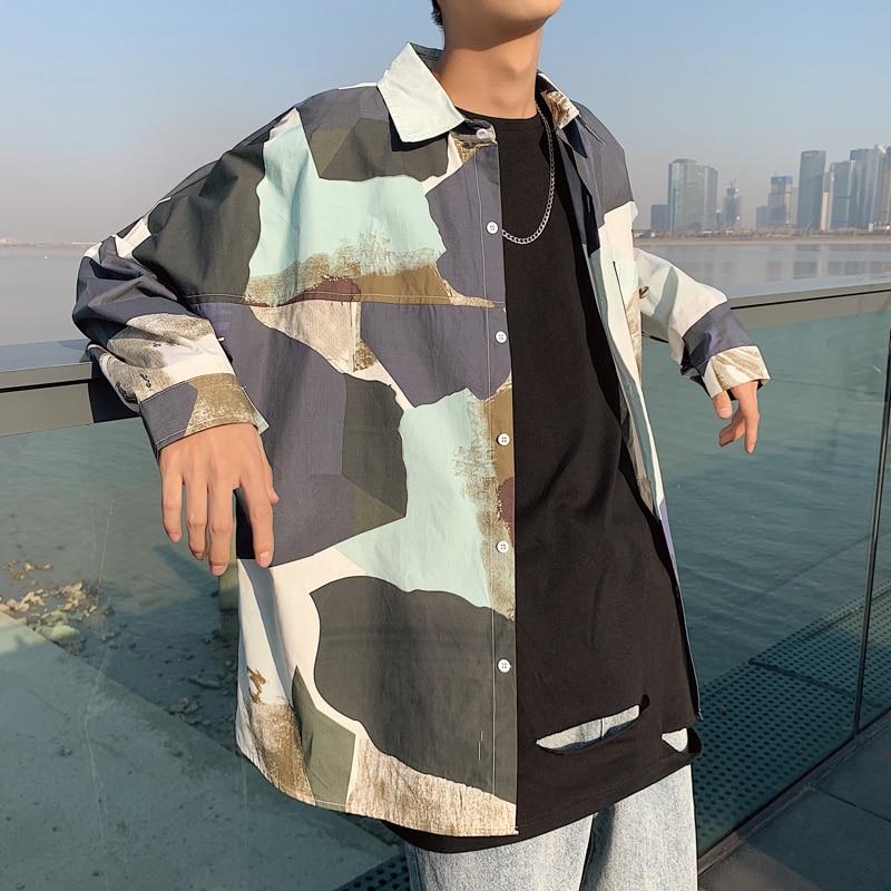 Privathinker Korean Spring Shirts 2020 New Fashion Patchwork Men Long Sleeve Blouse Streetwear Loose Tops Man Shirts Plus Size