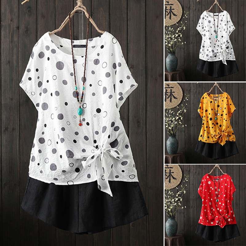 ZANZEA Women   Blouses     Shirts   2020 Vintage Polka Dot Print Blusas with Lacing Bow Ladies Casual Tunic Tops Summer Blusas Plus Size
