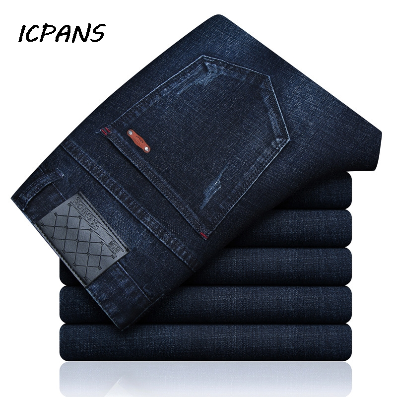 ICPANS Straight Stretch Jeans Men Smart Casual Korea Regular Blue Denim Jeans Men Pants Spring Autumn 2019